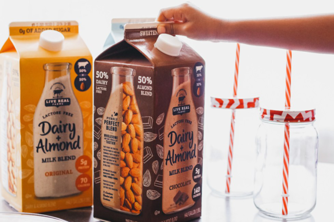 Live real farms dairy plus almond milk in chocolate and original varieties