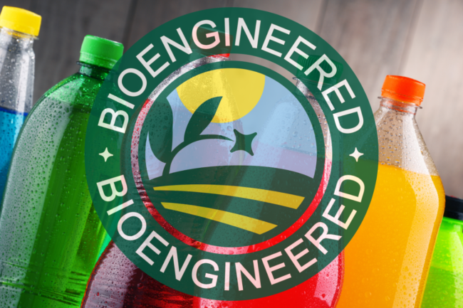 Bioengineered label over bottled beverages