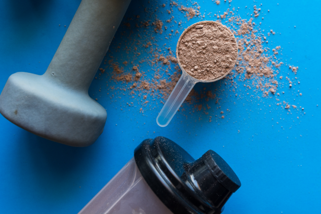 Whey protein shake with chocolate flavor