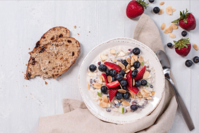Corner Bakery Berry & Almond Overnight Oats made with Dannon yogurt