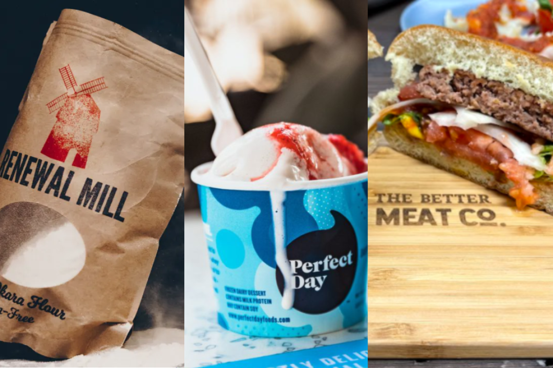 Perfect Day animal-free dairy ice cream, Renewal Mills upcycled Flower, and The Better Meat Co. plant-based meat alternative