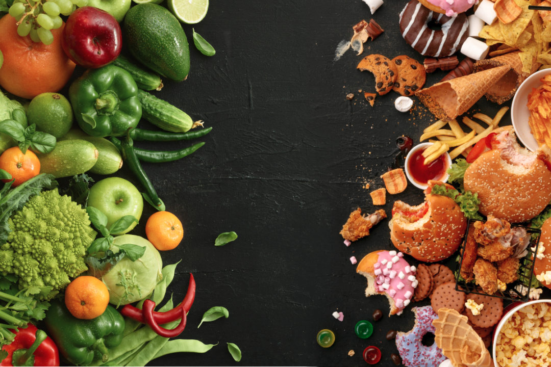 Healthy food and unhealthy food with a gap between